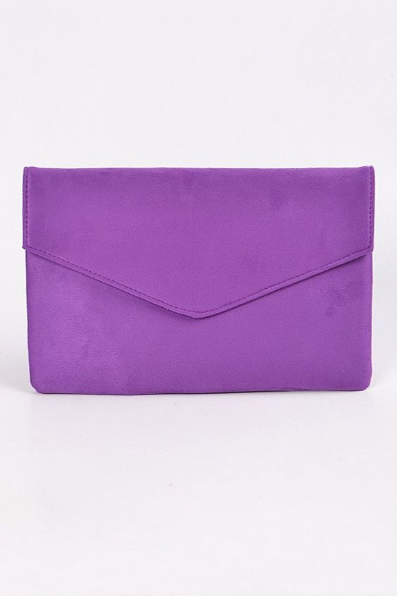 Best Friend Suede Envelope Clutch | Purple