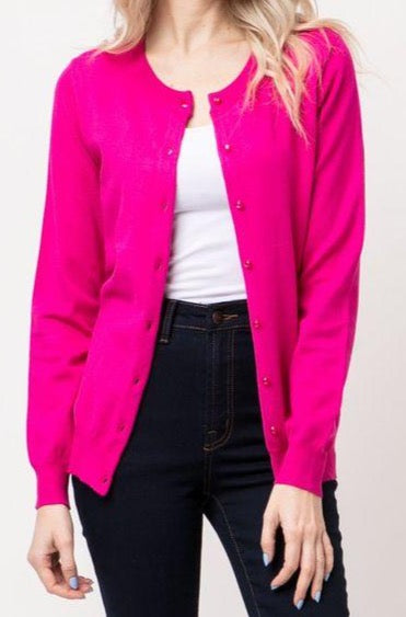 Working Girl Cardigan | Hot Pink