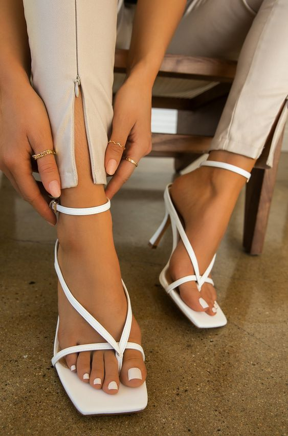 No Labels Square Toe Kitten Heels | White