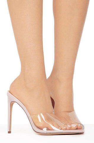 Mistress Mule Stiletto Heels | Nude