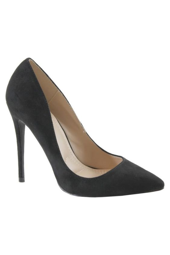 Almost Famous Patent Pointy Toe Stiletto Pump | Black Suede