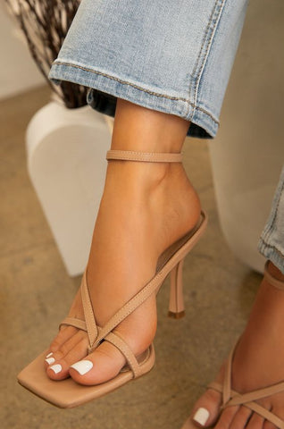 No Labels Square Toe Kitten Heels | Nude