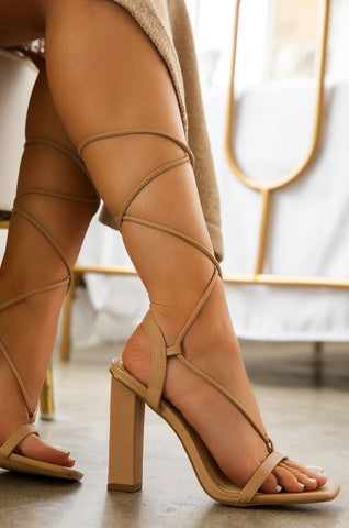 Block Him Strap Up Heels | Nude
