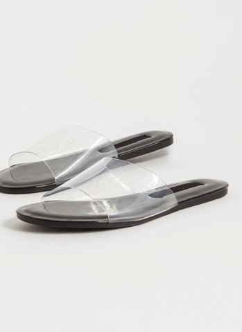 Make It Clear Push In Sandals | Black