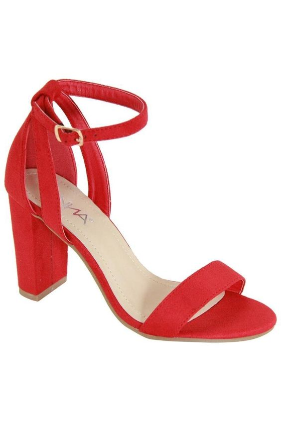 Divine Ankle Strap Block Heels | Red