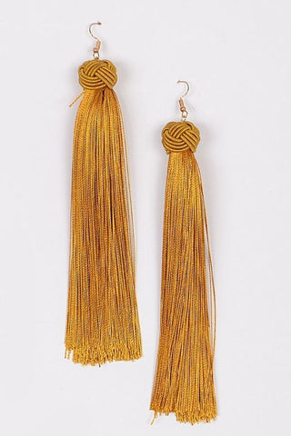 Our Secret Tassel Earrings | Mustard