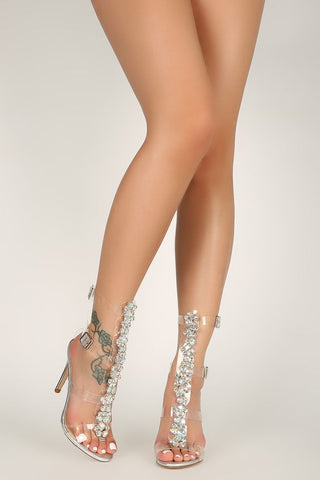 Steal the Scene Rhinestone Stiletto Heels | Pink Hologram