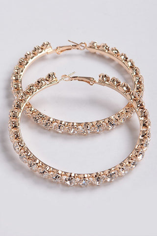 Never Late Rhinestone Hoop Earrings | Gold