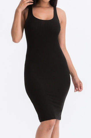 Pick Me Up Ribbed Bodycon Dress | Black