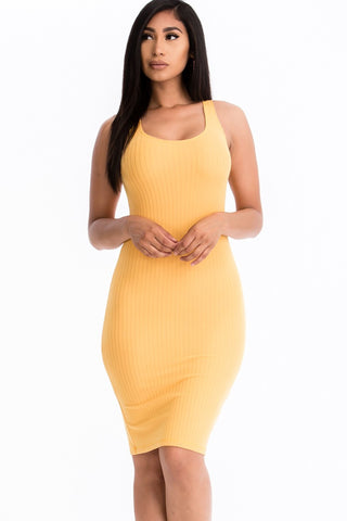 Pick Me Up Ribbed Bodycon Dress | Yellow
