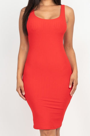 Pick Me Up Ribbed Bodycon Dress | Red