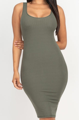 Pick Me Up Ribbed Bodycon Dress | Olive Green