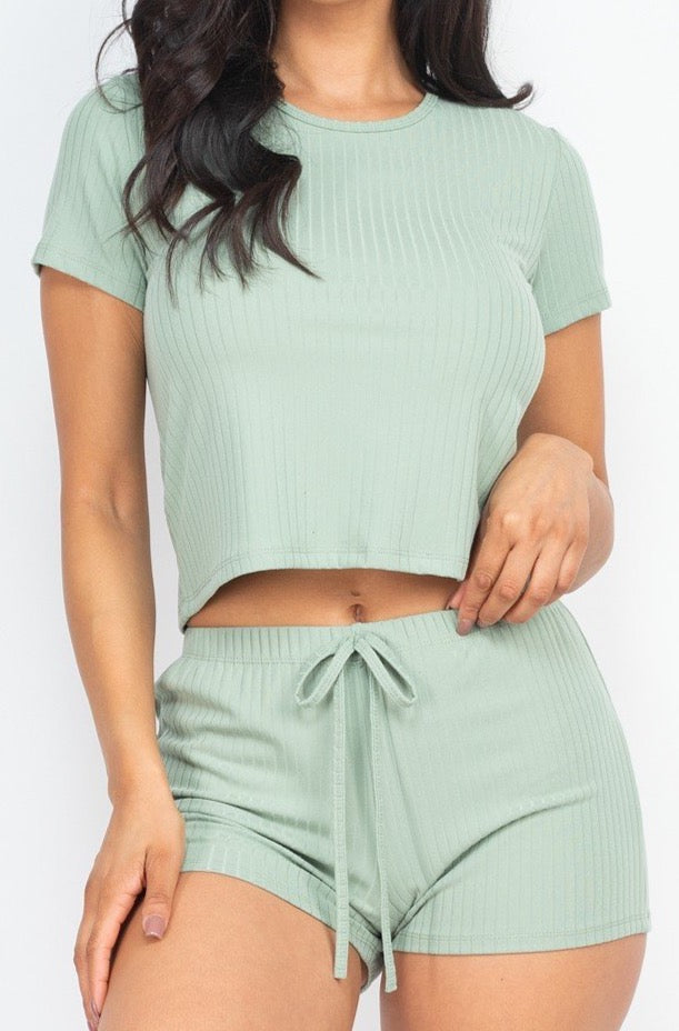 Spend the Night Ribbed Two Piece Set | Light Green