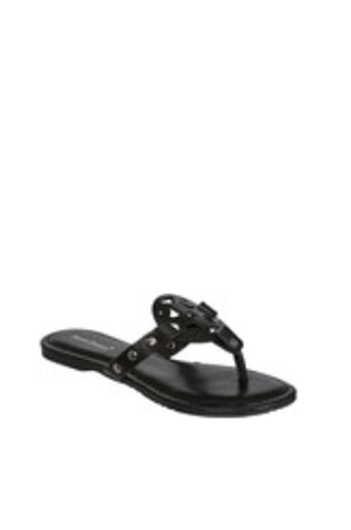 On the Move Push In Thong Sandals | Black