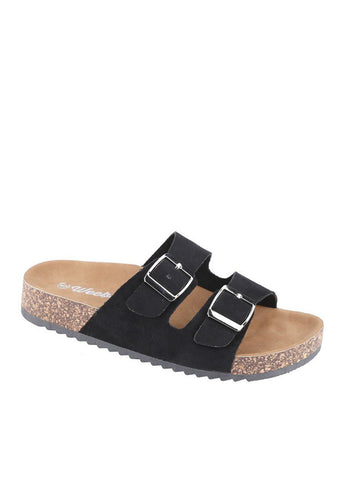 Pretty Please Cork Bottom Sandals | Black