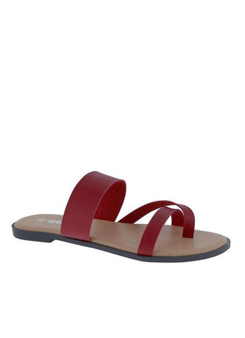 Stuck Up Push In Sandals | Red