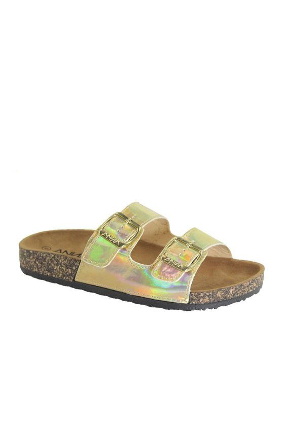 Eyes on Me Cork Bottom Sandals | Iridescent Gold