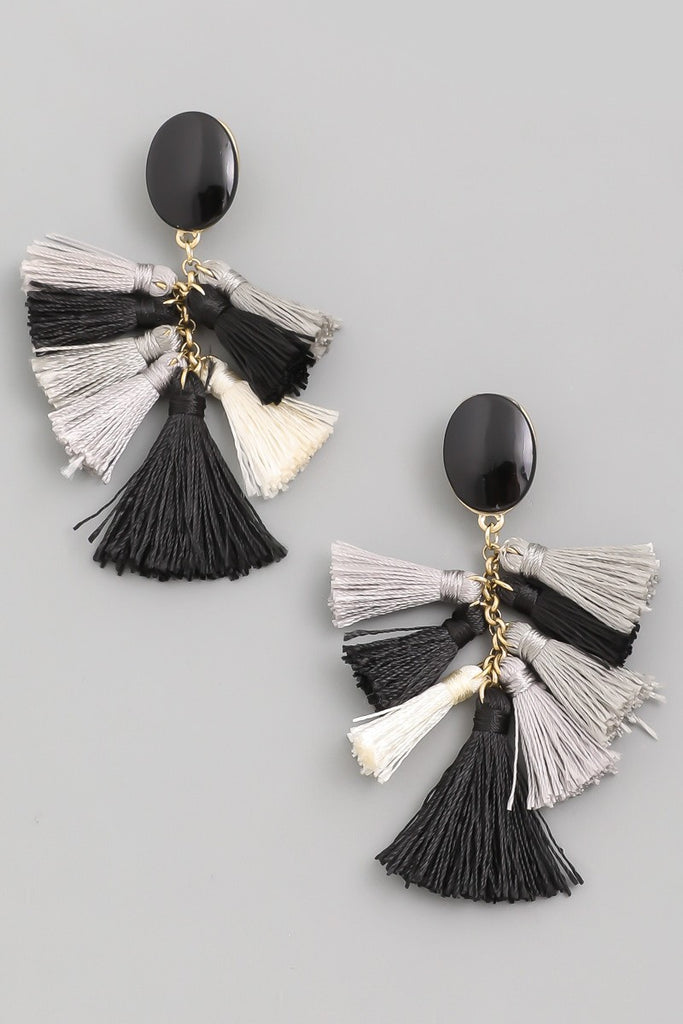 Feelings Tassel Earrings | Black