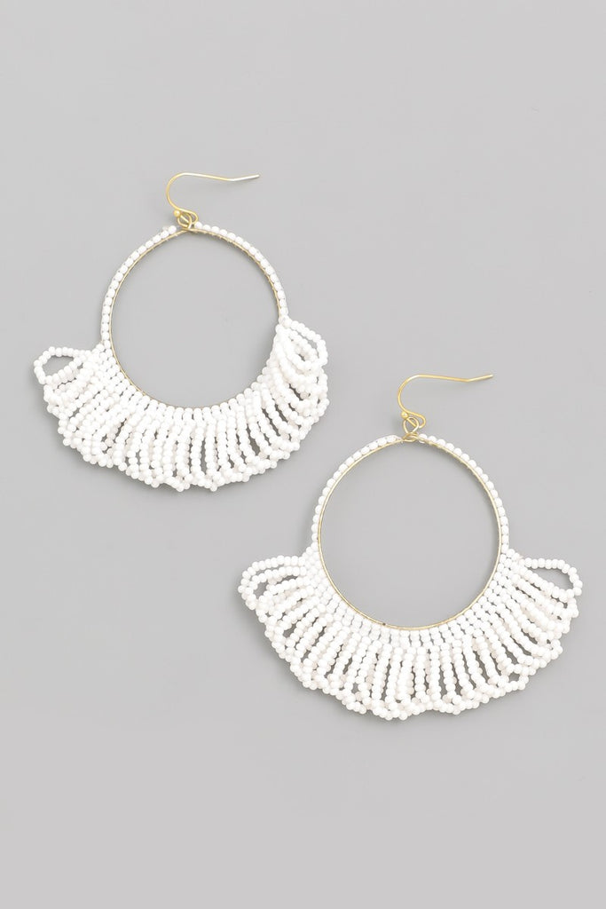 Circle of Life Beaded Earrings | White