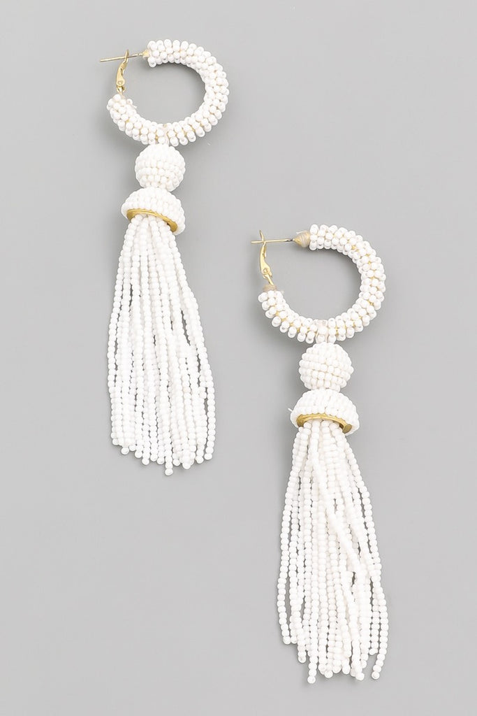 Fall for You Beaded Drop Earrings | White