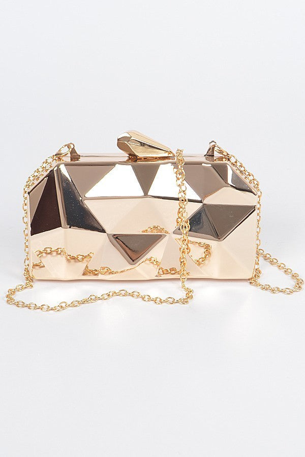 Point of it All Geometric Metal Clutch | Gold