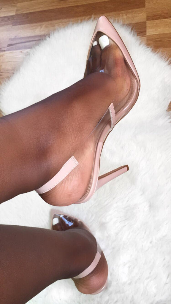 Out of the Picture Stiletto Sling Back Pumps | Nude