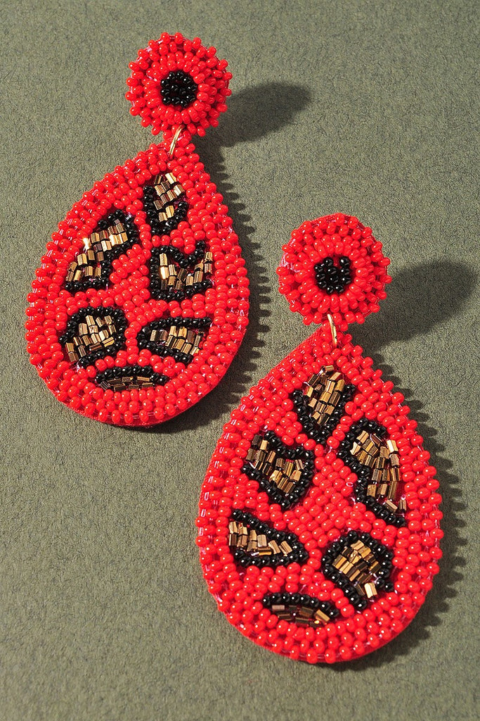 Summer Fling Beaded Earrings | Red