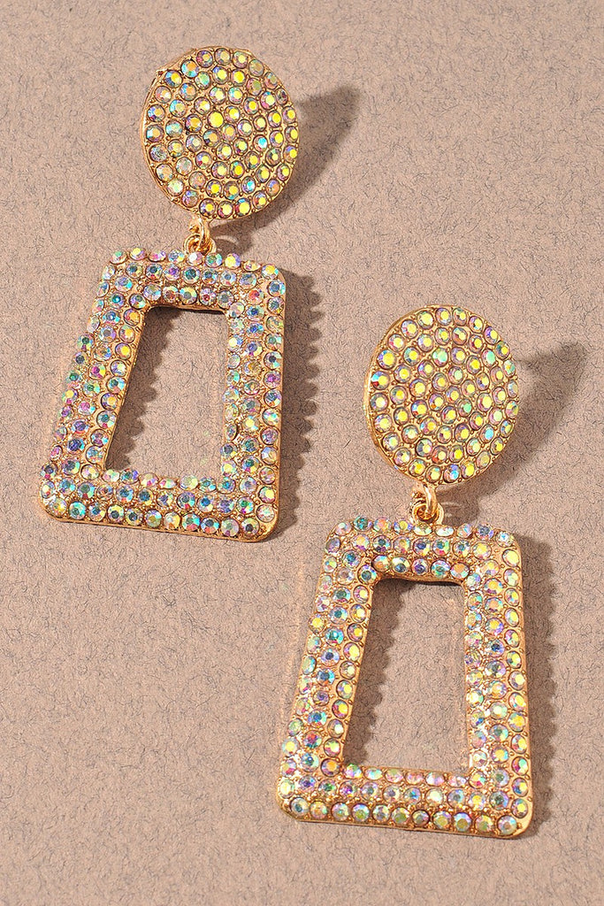 Wicked Bling Rhinestone Earrings | Iridescent Gold