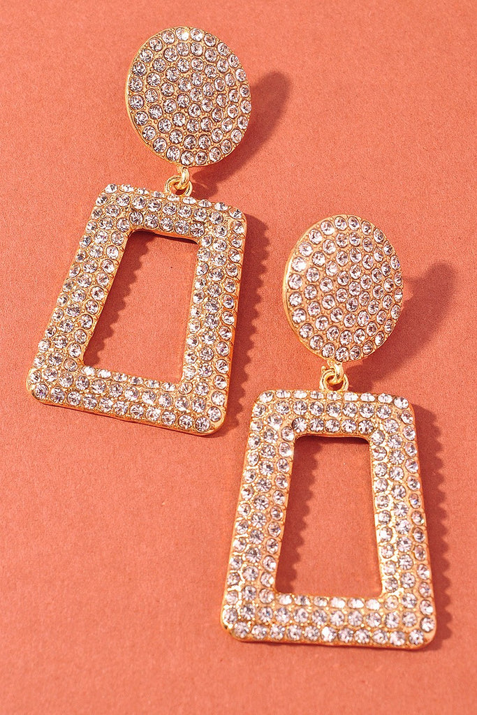 Wicked Bling Rhinestone Earrings | Gold