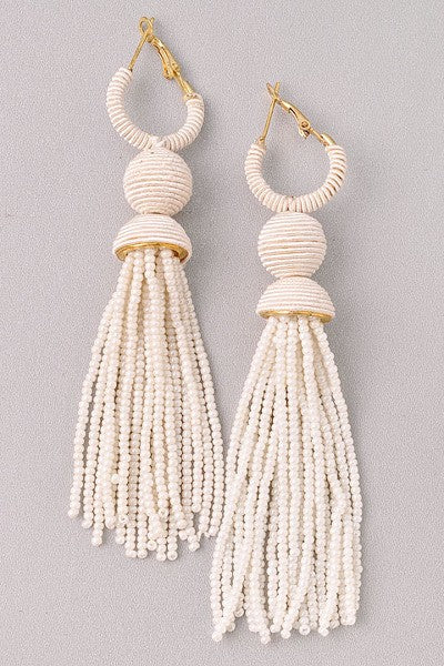 Lovely Beaded Drop Earrings | Ivory