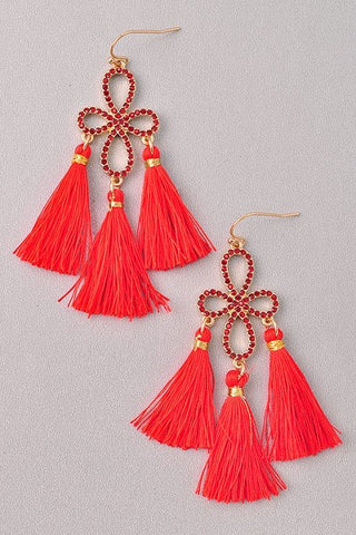 Dance Floor Jeweled Tassel Earrings | Red