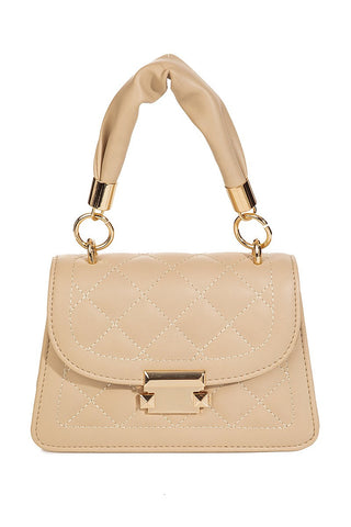 Night Life Quilted Crossbody Bag | Nude