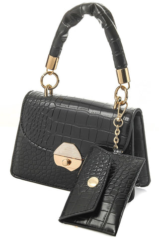 In the Mirror Snake Print Crossbody Bag | Black