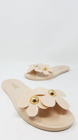 Flower Power Jelly Sandals | Nude