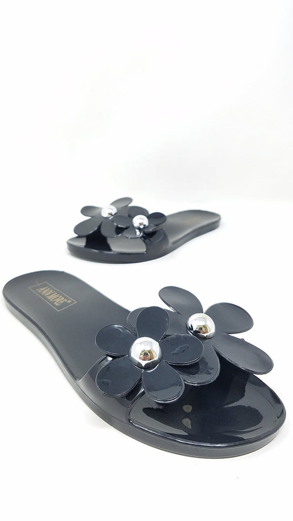 Flower Power Jelly Sandals | Black