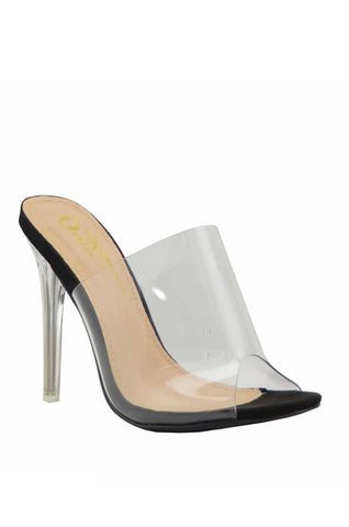 Clear as Day Mule Stiletto Heels | Black