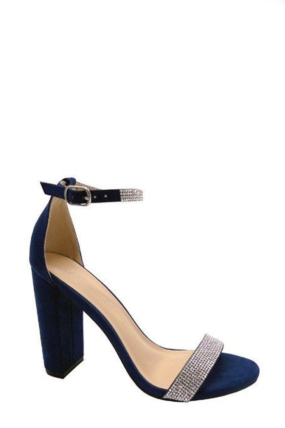 Cross My Heart Jewel Block Heels | Navy