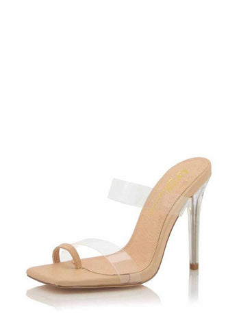 In the Clear Toe Strap Stiletto Mule Heels | Nude