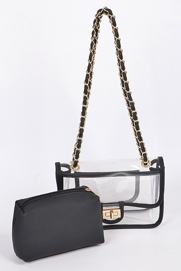 Style Queen Clear Crossbody Bag | Black