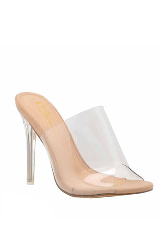 Clear as Day Mule Stiletto Heels | Nude