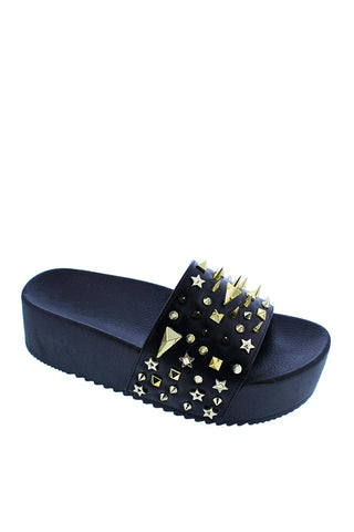 Spiked Out Platform Sandals | Black
