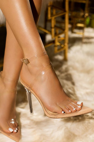 Mean Girl Clear Stiletto Heels | Nude