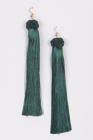 Our Secret Tassel Earrings | Green