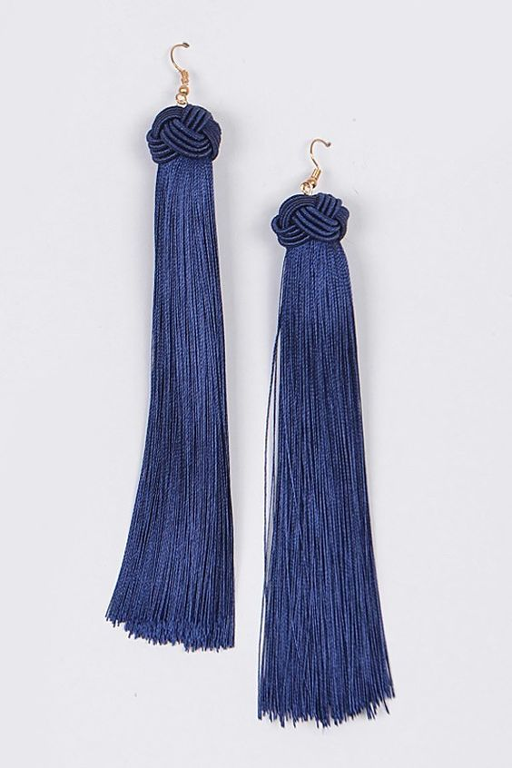 Our Secret Tassel Earrings | Navy Blue