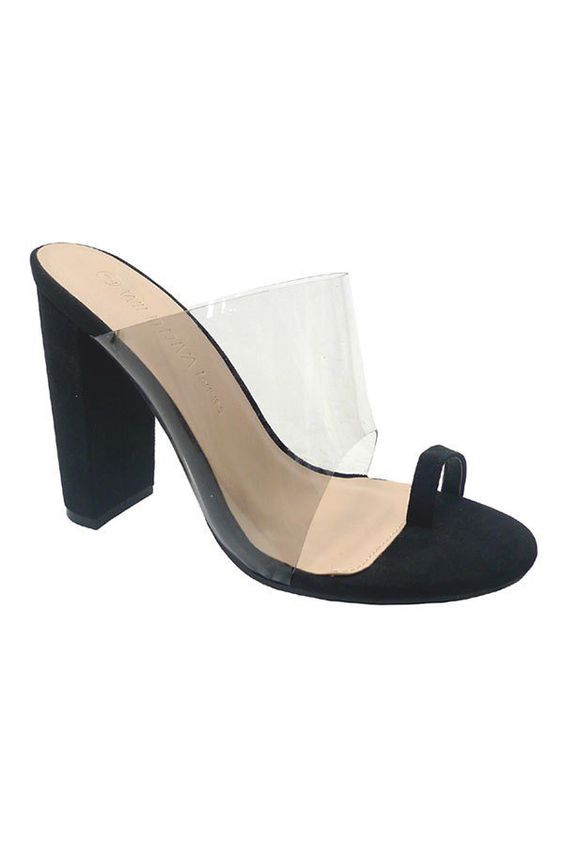 Clear View Toe Strap Block Heels | Black