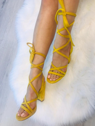 Trend Envy Wrap Up Block Heels | Yellow