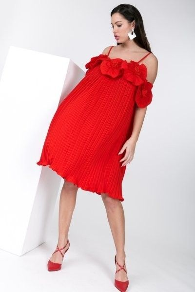 Flower Power Pleated Dress | Red