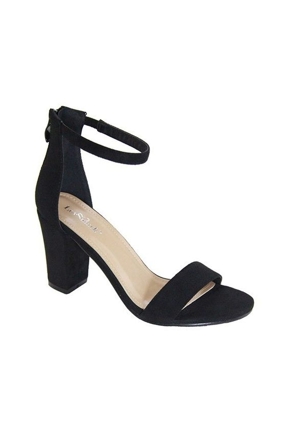 Anytime Ankle Strap Block Heel | Black