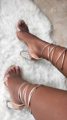 As You Wish Jeweled Heels | Rose Gold