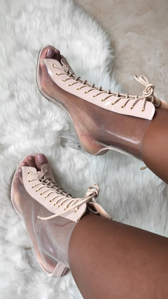Out of the Way Lace Up Clear Booties | Nude
